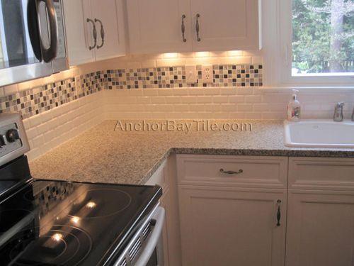 White Subway Tile With Mosaic Inlay Kitchen Tiles Backsplash