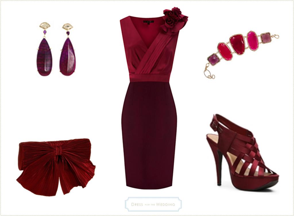 burgundy dress for a wedding guest