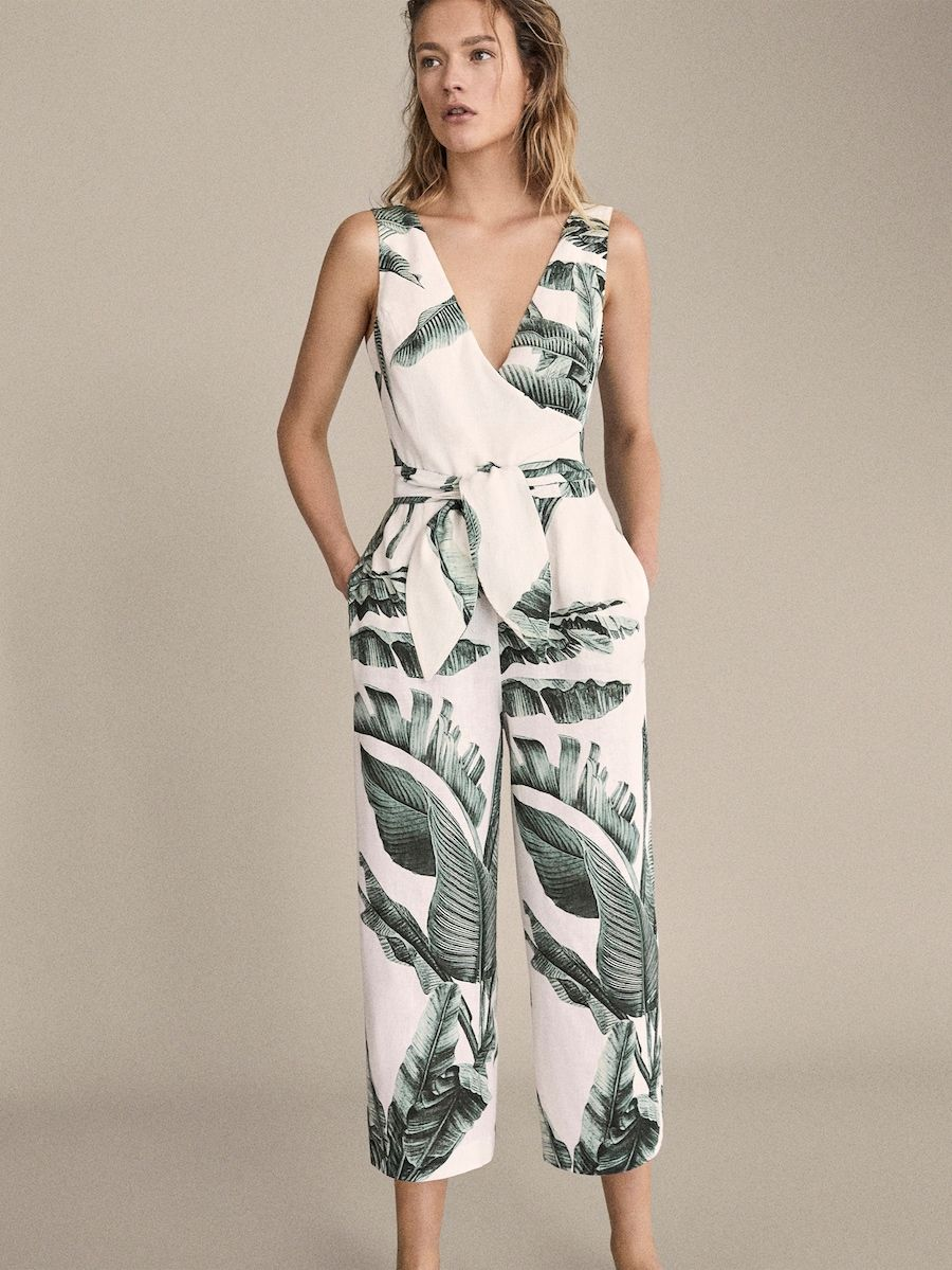 classic classic chic aesthetic appearance Palm tree print linen jumpsuit | .Outfits in 2019 ...
