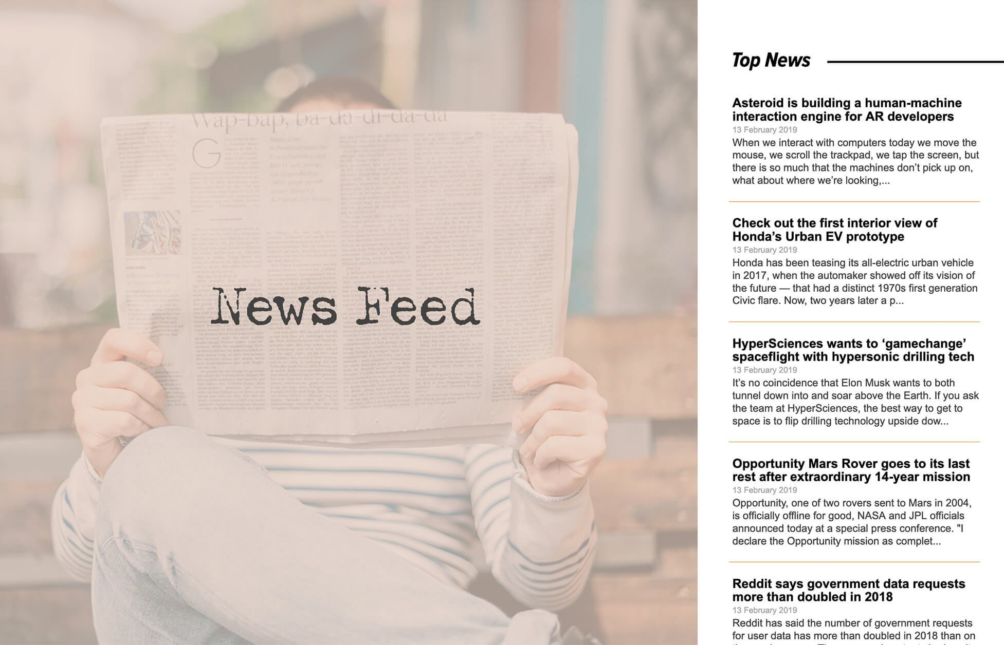Display a live news feed on your site  Content in the feed