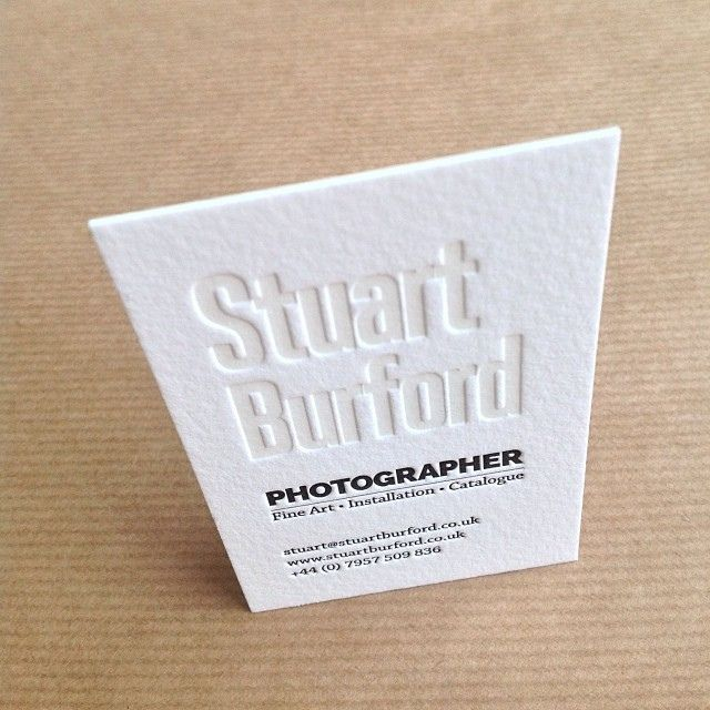 Unique Letterpress Business Card For Photographer Stuart Burford Printed By Elegantepress Name On This Was With White Ink