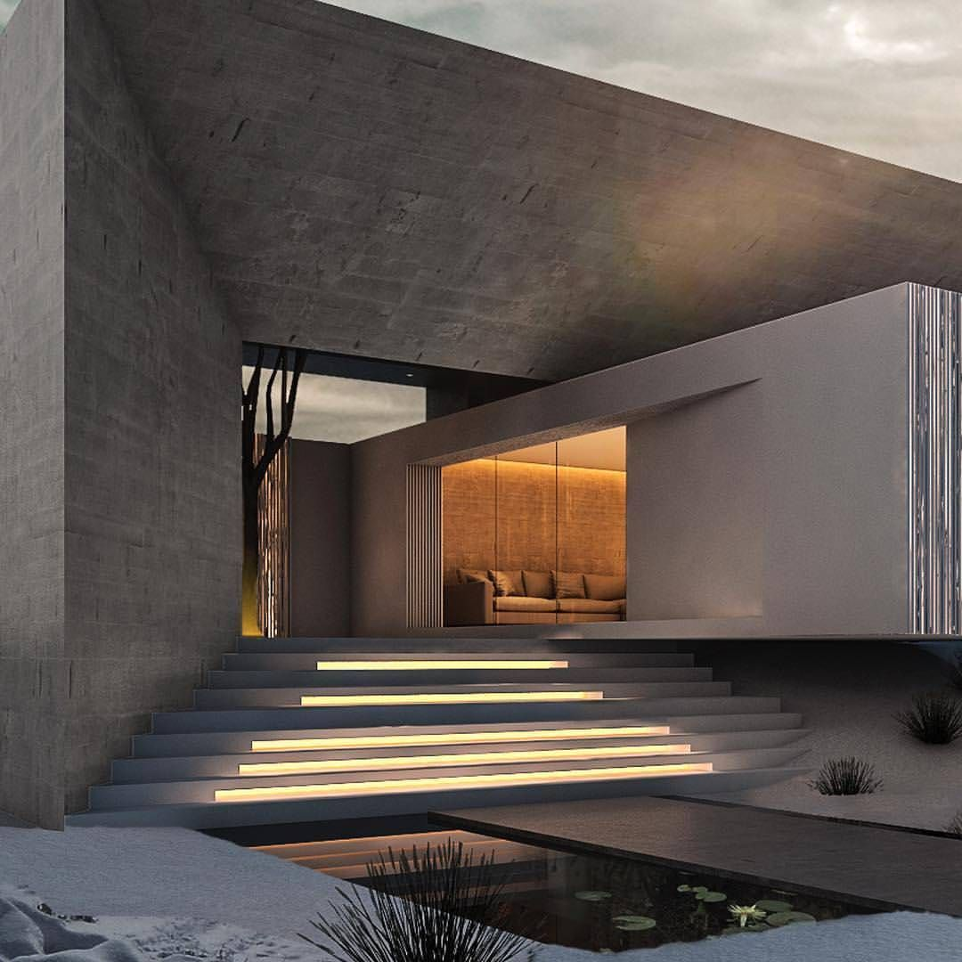 "Amazing Architecture on Instagram: ""Main entrance of VILLA M1 - We love concrete...lot's of concrete!!. . Vía : @rasdreamhouses #villa  #design  #concrete  #denmark 🇩🇰🇩🇰…"""