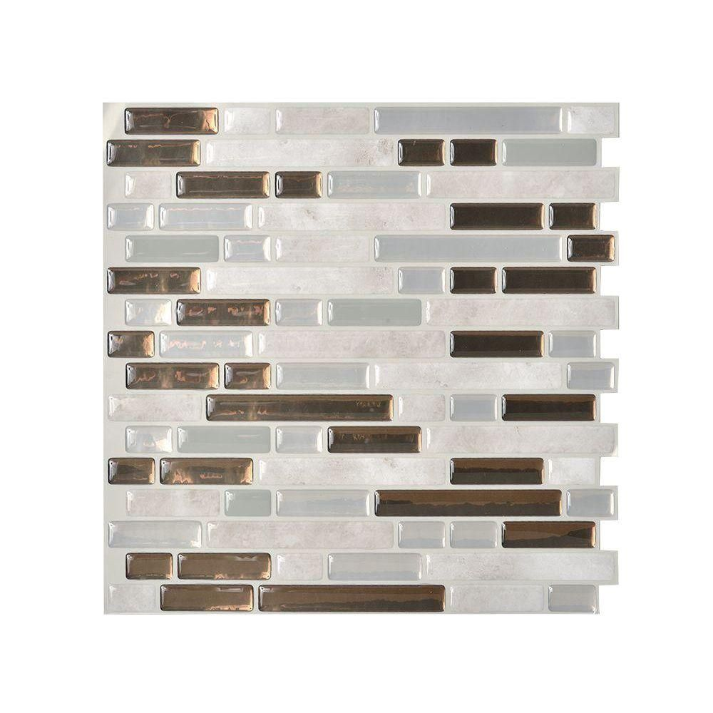 Smart Tiles 10.125 In. X 10 In. Bellagio Grigio Peel And Stick Mosaic  Decorative
