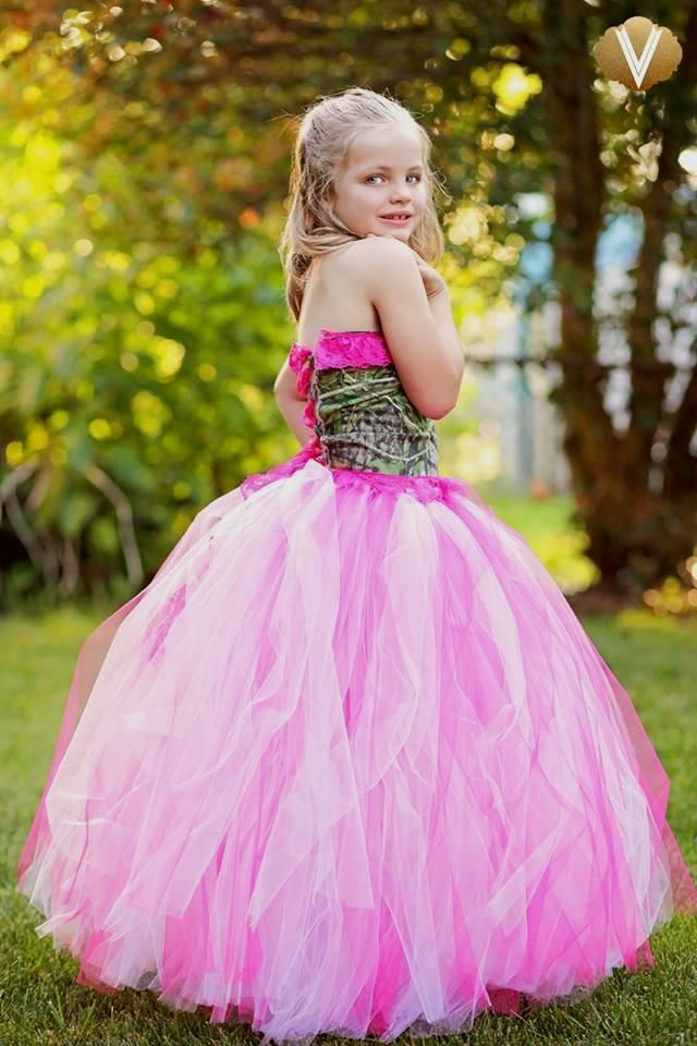 Hot pink camo flower girl tutu dress | Tutus For All Boutique | camo ...