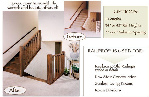 RailPro | Sunken living room, Baluster spacing, Stairs