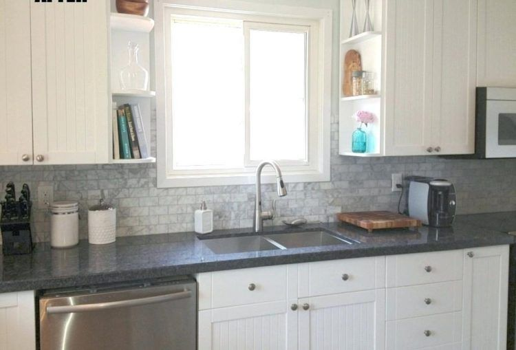 Grey Kitchen Backsplash White Kitchen Cabinets Light Gray Tiles In