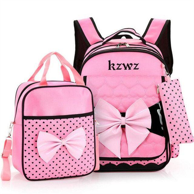Beautiful Pink Bow Girl School Bag Set High Quality Nylon Waterproof  Backpack Cute Girls Schoolbags Mochila Escolar f8e282fa02826