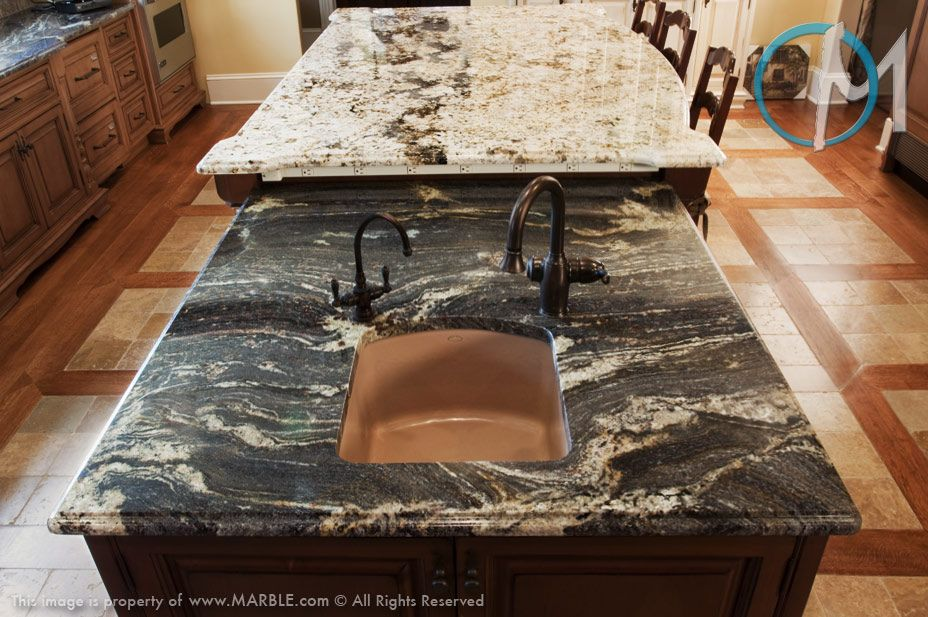 the rich veining of this blue storm granite offsets the lighter