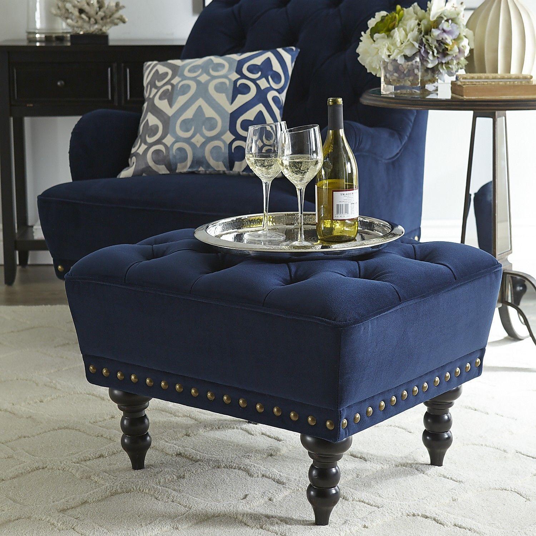 Chas Navy Blue Velvet Ottoman Velvet Living Room Brown And Blue Living Room Velvet Living Room Furniture