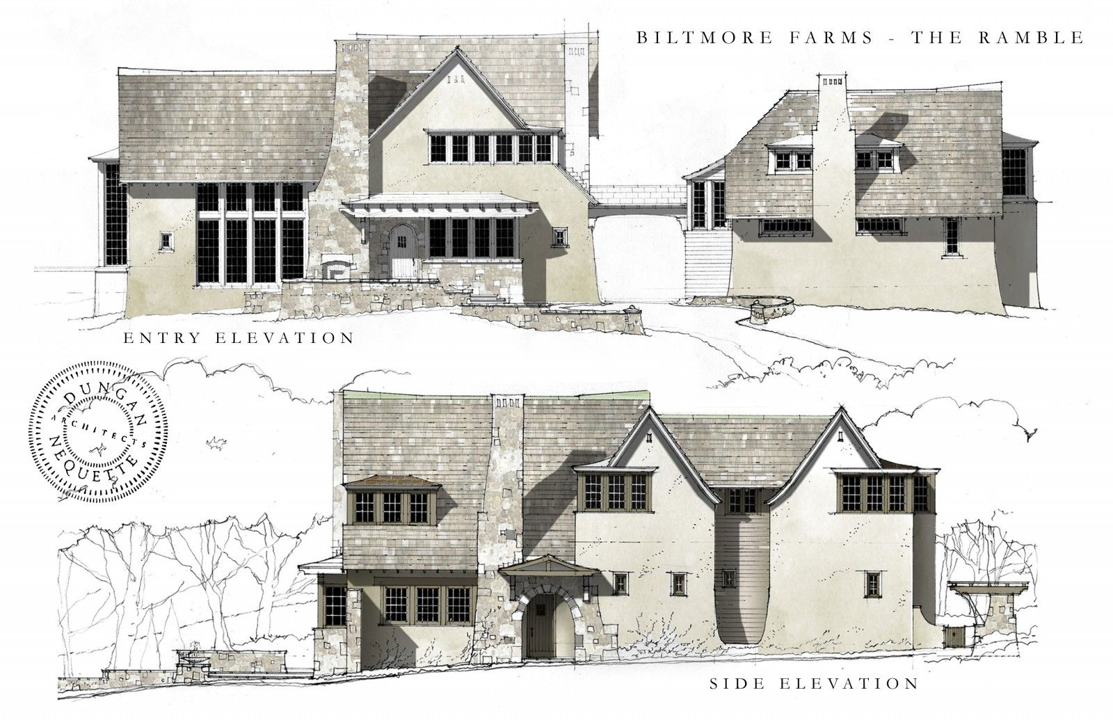 Home interior elevation sketch  dungannequette architects  pen pencil ink paper