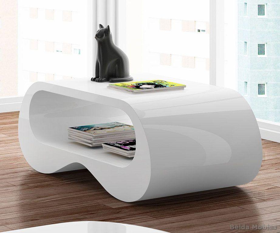 Mesa centro moderna lacada blanco brillo mesa de dise o for Mesa de centro blanca