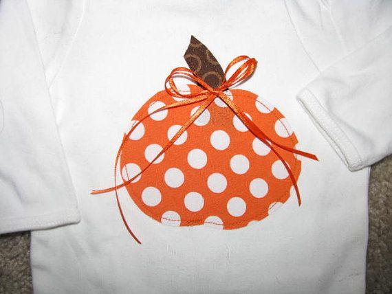 Girls Long sleeve Halloween pumpkin shirt size by BitsyBitDesigns, $22.00