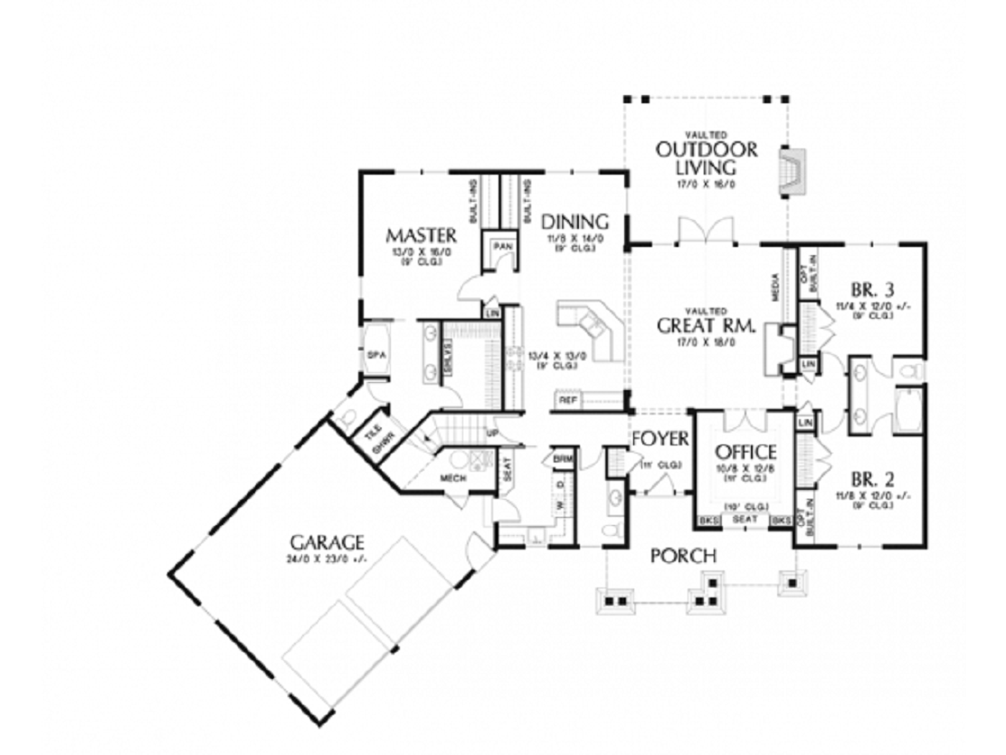 Open Floor Plans For Single Story Craftsman Homes 2233 Sq Ft With 3 Bedroom 2 Bath And 2 Gara Craftsman Style House Plans Craftsman House Plans Craftsman House