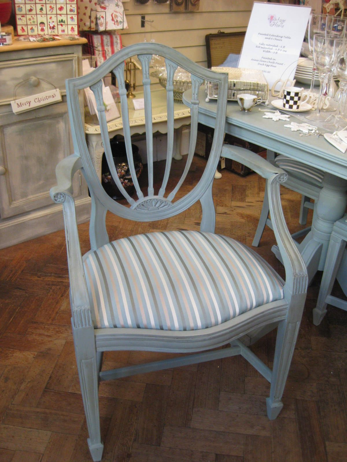 Carver dining chair painted duck egg blue
