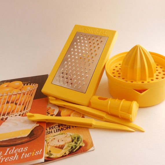 Vintage 1970s Sunkist Lemon Aid Kit Lemonade Tools Folding Grater Juicer Lemon Faucet 2 Citrus Peelers Recipe Booklets Lemonade Juicer Lemonade Juicer