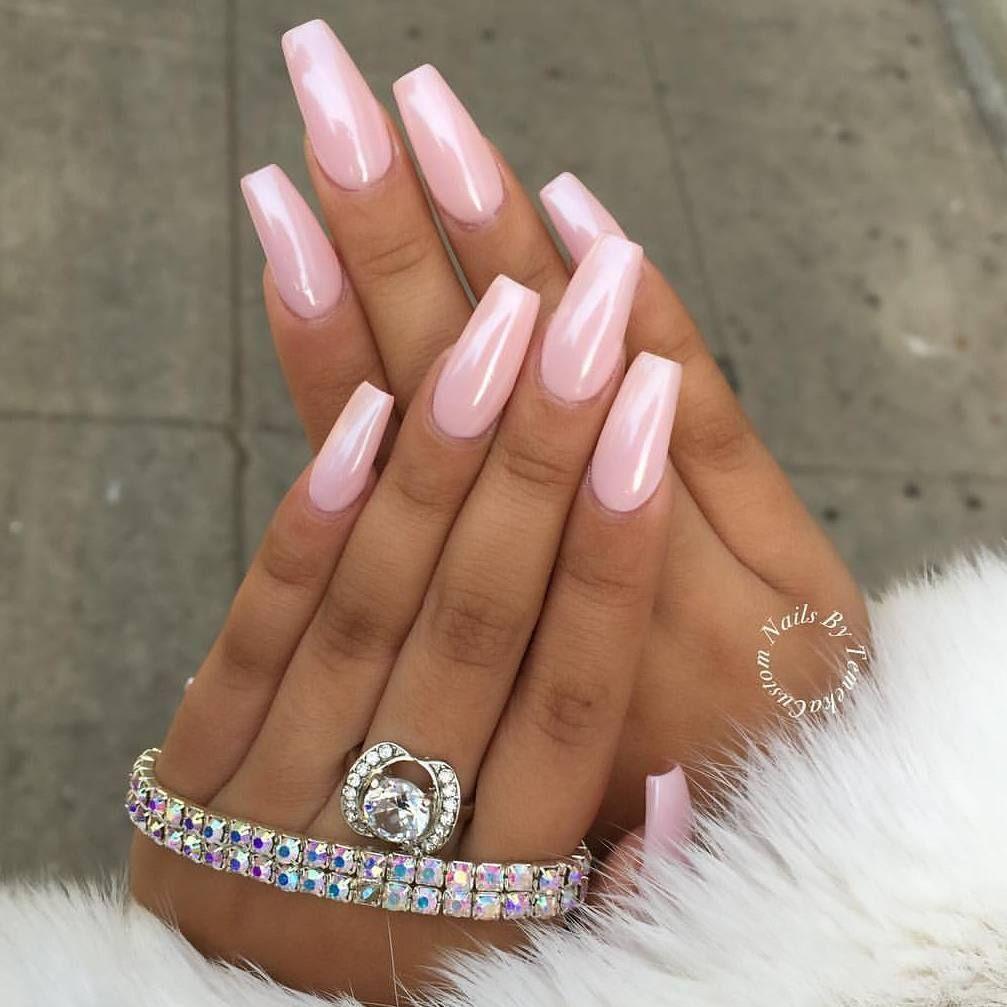 Lovely Nails By Customtnails1 Featuring Our Magic White Chrome Powder Over A Pink Base Shop For Nail Powders And Pigments At DailyCharme