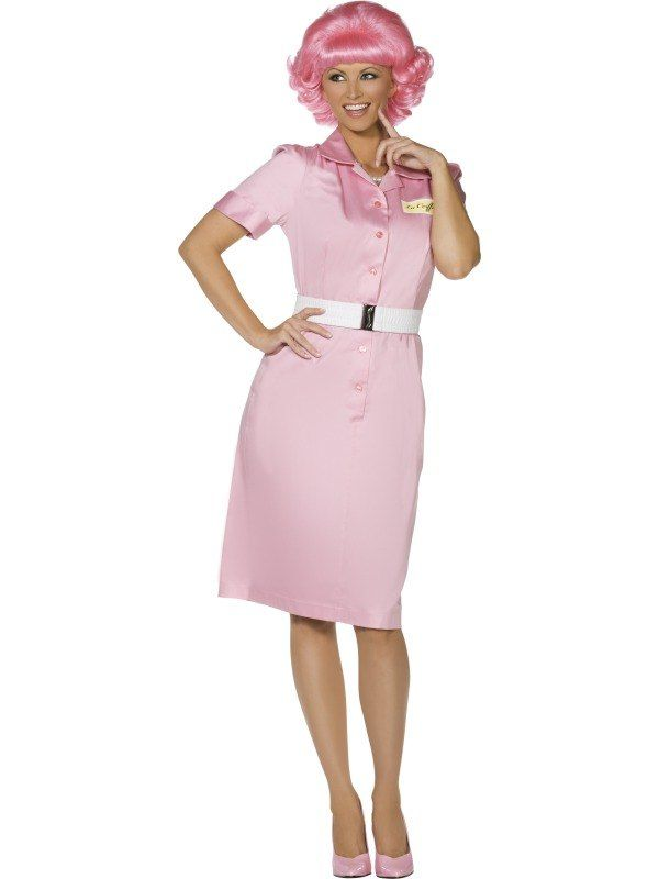 687d7efdc4 Adult 50s Grease Pink Ladies Frenchy Ladies Fancy Dress Hen Party Costume  Outfit