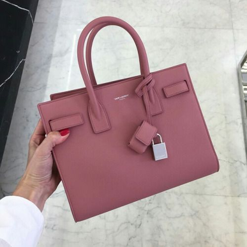 Tote Bag On Sale, Pink, Leather, 2017, one size Saint Laurent