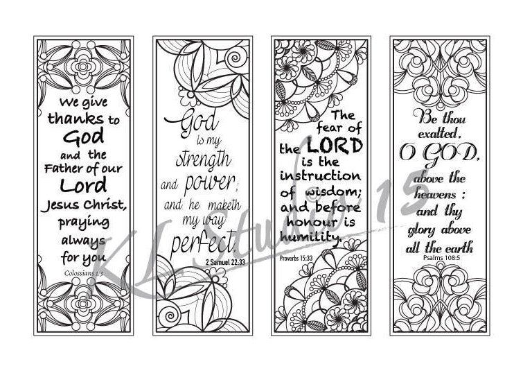 Bible Verse Coloring bookmarks4 Instant Download | Color me Happy ...