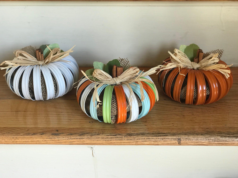 Autumn Mason Jar Lid Pumpkins Pumpkins Pumpkin Decor Tabletop Decor Fall Centerpieces Mason Jar Decorations Mason Jars Fall