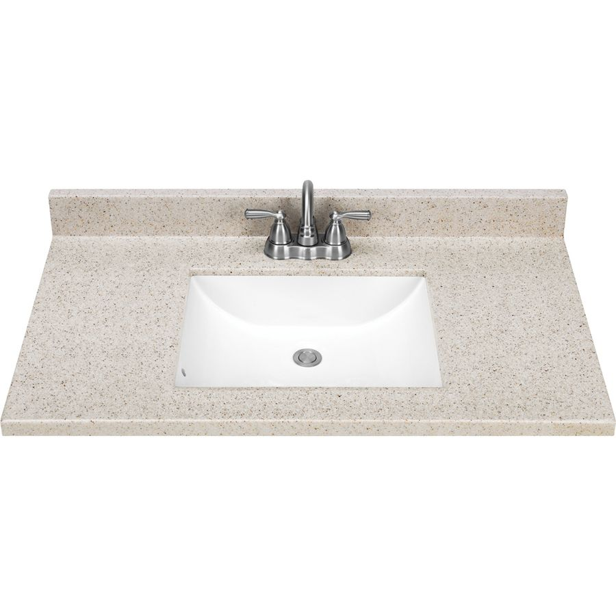 Photo Of  Style Selections Dune Solid Surface Integral Single Sink Bathroom Vanity Top Common x Actual x