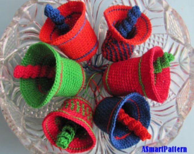Ganchillo patrón colorido Navidad campanas-pdf archivo #14 ...