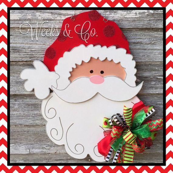 Adorable 24 Santa Door Hanger Festive Christmas Door by WeeksAndCo  sc 1 st  Pinterest & Adorable 24