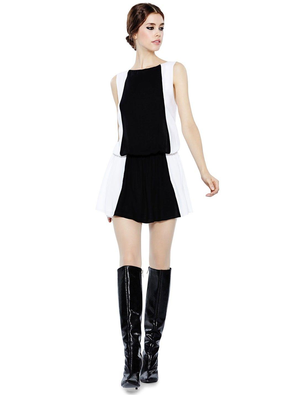 Alice Olivia Bristol Colorblock Drop Waist Dress Dropwaist Dress Designer Outfits Woman Dresses