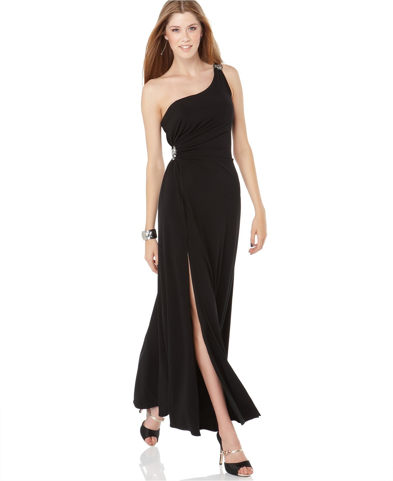 Hailey logan dress one shoulder beaded maxi gown womens dresses hailey logan dress one shoulder beaded maxi gown womens dresses macys ombrellifo Images