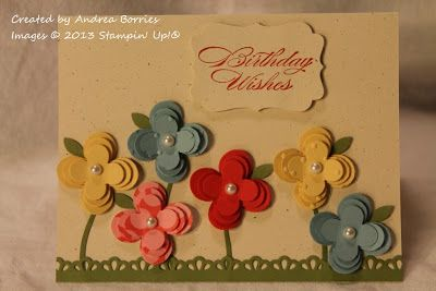SU Bring on the Cake or other birthday sentiment, Floral Fusion Sizzlits and Finishing Touches Edgelits dies, Bird Builder and Decorative Label punches, Perfect Polka Dots E F