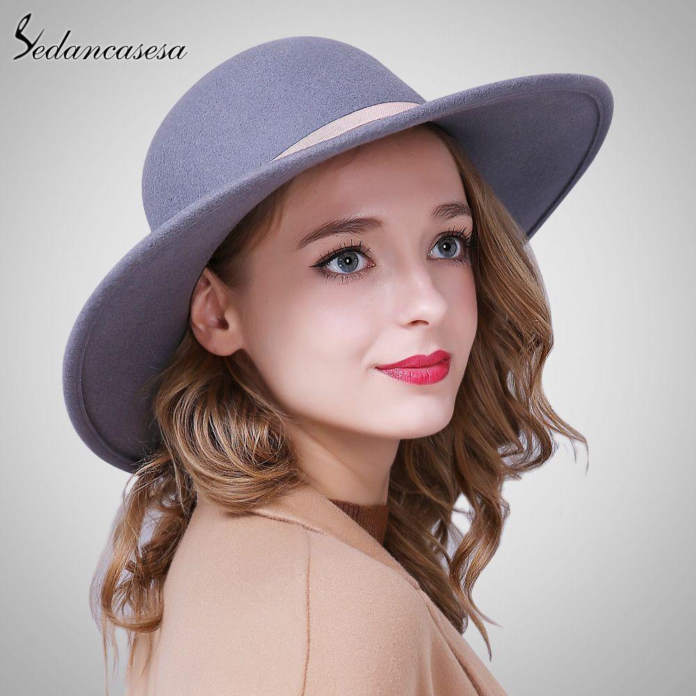 Fashion Wide Brim Hats For Women 100% Australian Wool Elegant Floppy Hat  Female Wool Felt Hat Ribbon That`s just superb!  shop  beauty  Woman s  fashion ... 9af4e5109da9