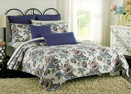 Amazon Com Cynthia Rowley Floral Bedspread 3pc Full Queen Quilt Set Coverlet Cotton Reversible Jacobean Flowers Qu Floral Bedspread Quilt Bedding Bed Spreads