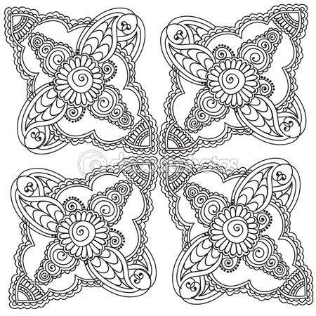 Páginas para colorear para adultos. Henna Mehndi Doodles elementos ...