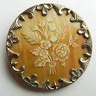 Antique Button Gorgeous Enamel Button Lady w Flowers Wide Floral Gilt Border