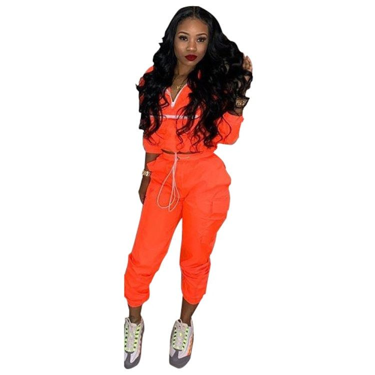 3f395930923 Fall Winter Tracksuit Women Two Piece Set Long Sleeve Top Pant Sweat Suit  Sexy Jogger 2 Piece Outfits Matching Sets Orange 2019(China)