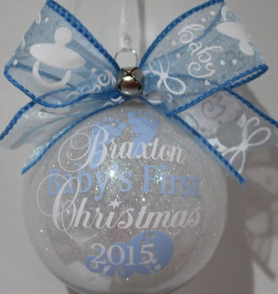 "Baby's First Christmas Ornament personalized with year & name. 4"" Acrylic or Glass ornament FIRST NAME ONLY Please made with vinyl"