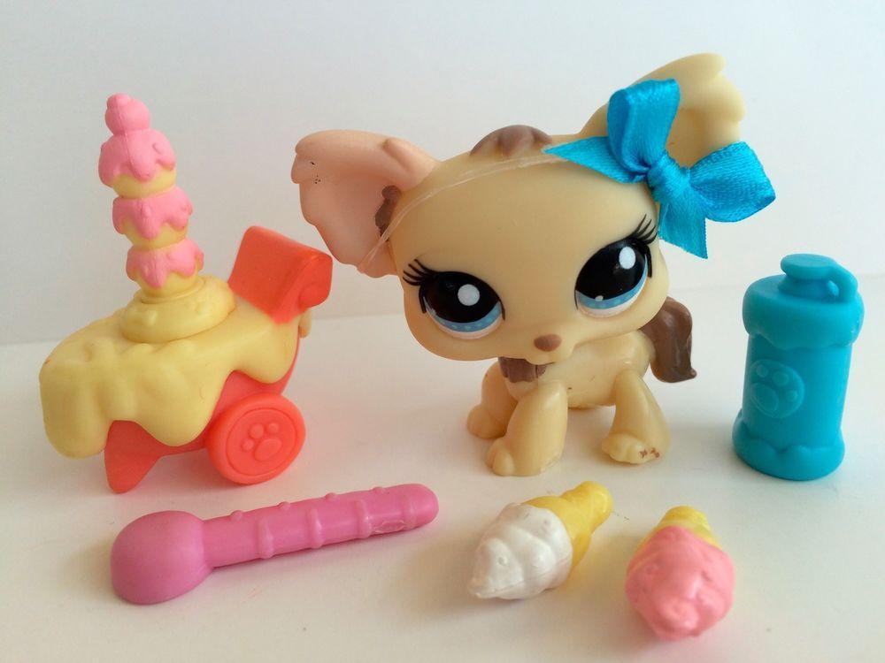 Littlest Pet Shop Cream Chihuahua 1171 W Ice Cream Cart