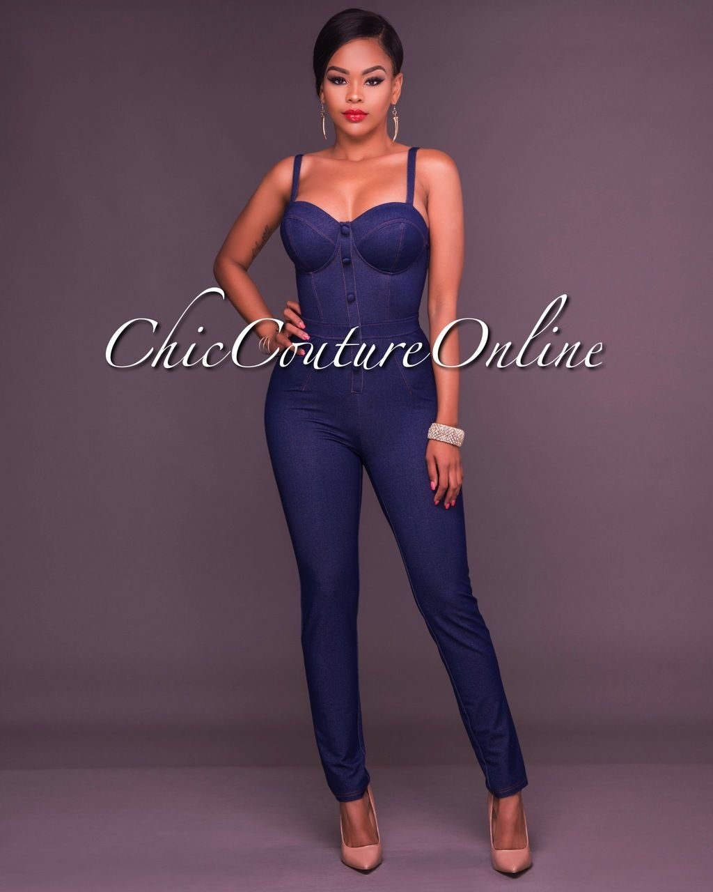 Cammi Denim Faux Button Front Fitted Jumpsuit