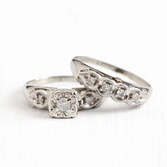 Sale Vintage 14k White Gold 21 Ctw Diamond Engagement Ring Engagement Rings Wedding Bands Set Exclusive Wedding Rings 14k White Gold Diamond Engagement Ring
