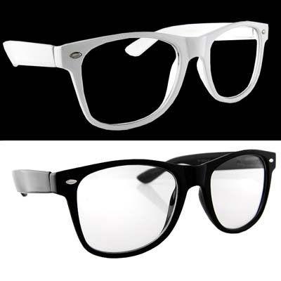 a1ae977141 Lot of 2 Nerd Glasses Buddy Holly Wayfarer Black and White Frame Clear Dark  Lenses  0.79 -  9.99