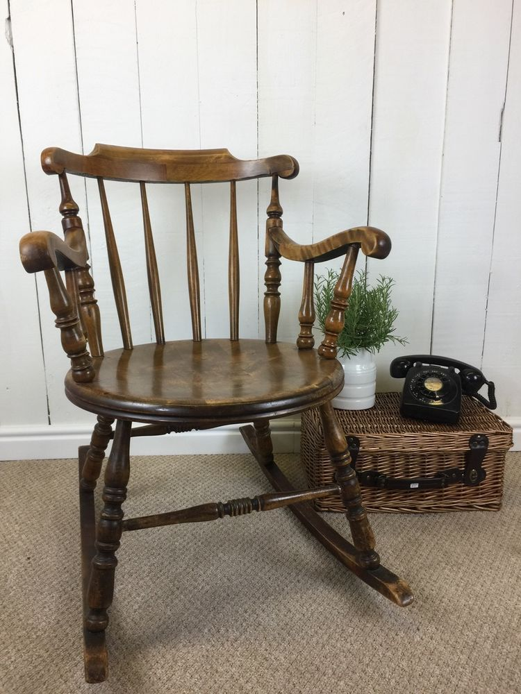 Round Seat Solid Wood Rustic Vintage Rocking Chair With