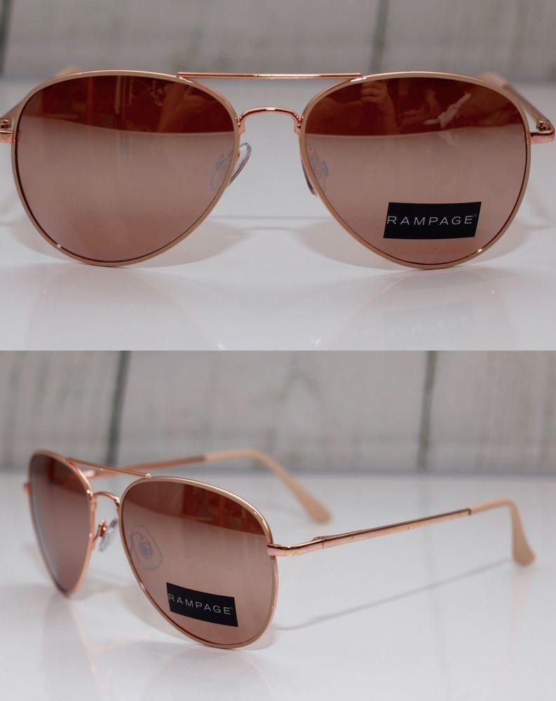 7f1e592d627 Rampage Rose Gold Metallic Mirrored Lens Aviator Women 039 s Sleek Metal  Sunglasses
