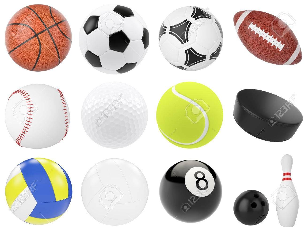 Set Of Sports Balls Soccer Basketball Bowling Rugby Tennis Volleyball Hockey Baseball Billiards Golf Puck 3d Illust Sports Balls Soccer Soccer Ball
