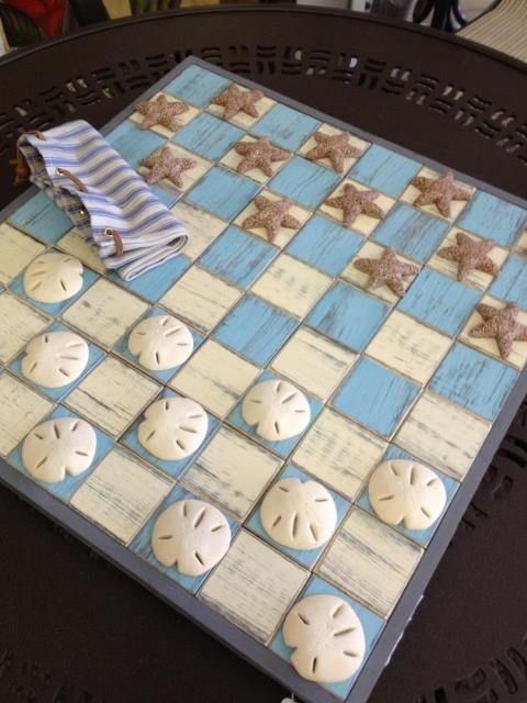 Sally Lee by the Sea | DIY Seashell Checkers!! | http://nauticalcottageblog.com