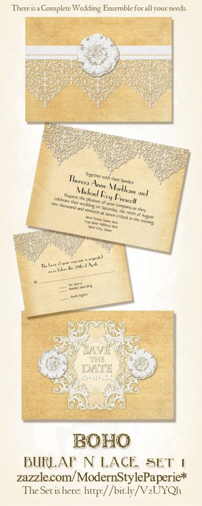 BOHO Bohemian Style Burlap and Lace Wedding Invitation Set