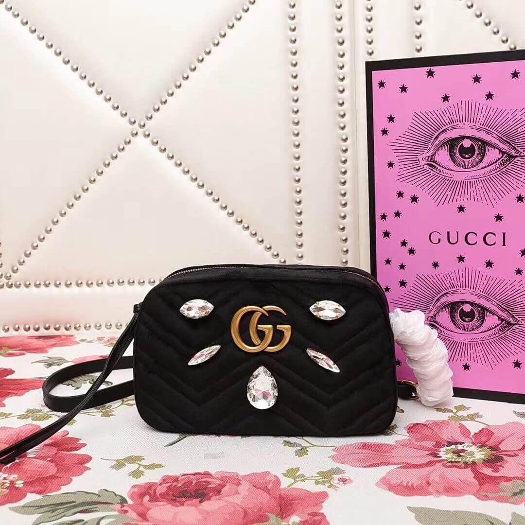 0074e497f69f Gucci Velvet GG Marmont Mini Camera Shoulder Bag Crystals 448065 Black 2018