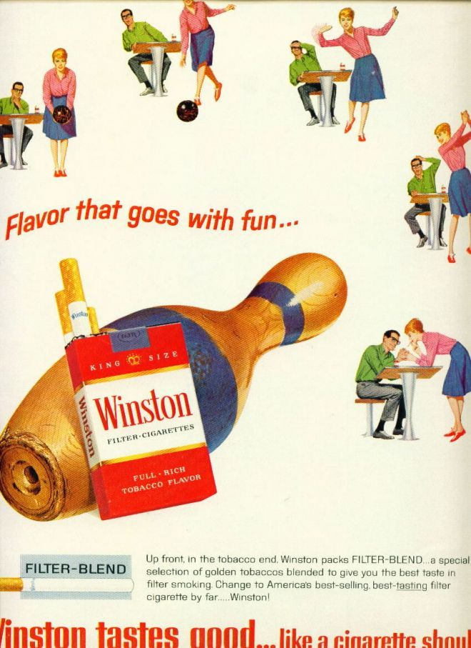 Winston Cigarettes Bowling Pin and Motiff (1964)