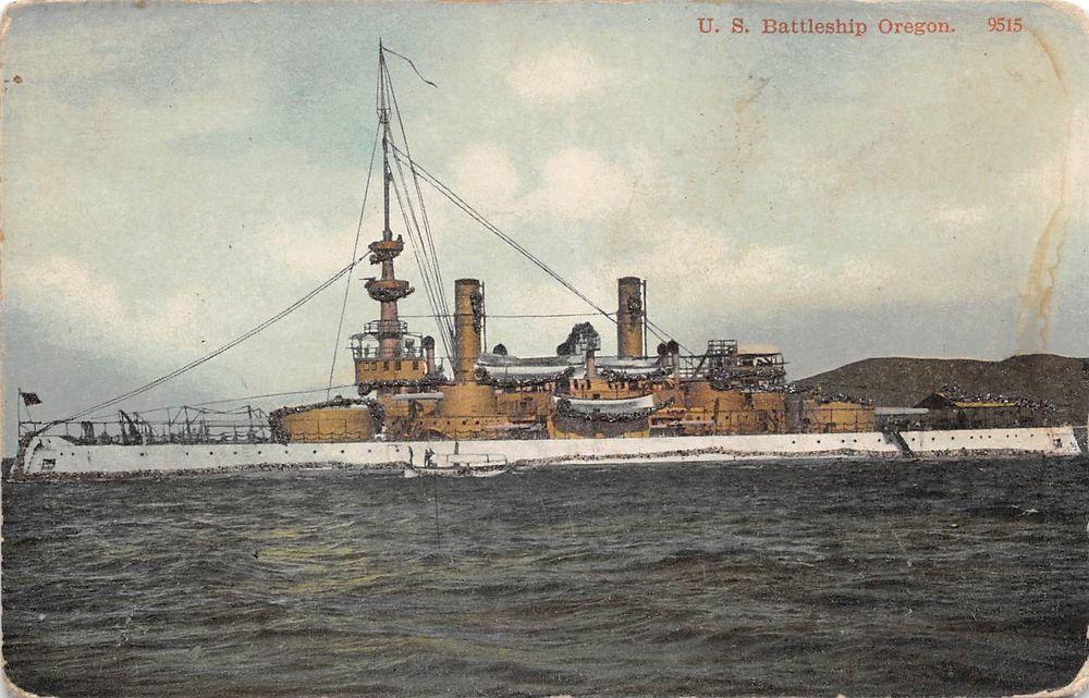 A91/ Ship Postcard Boat c'10 U.S.S. Battleship Oregon U.S. Navy Glitter 37