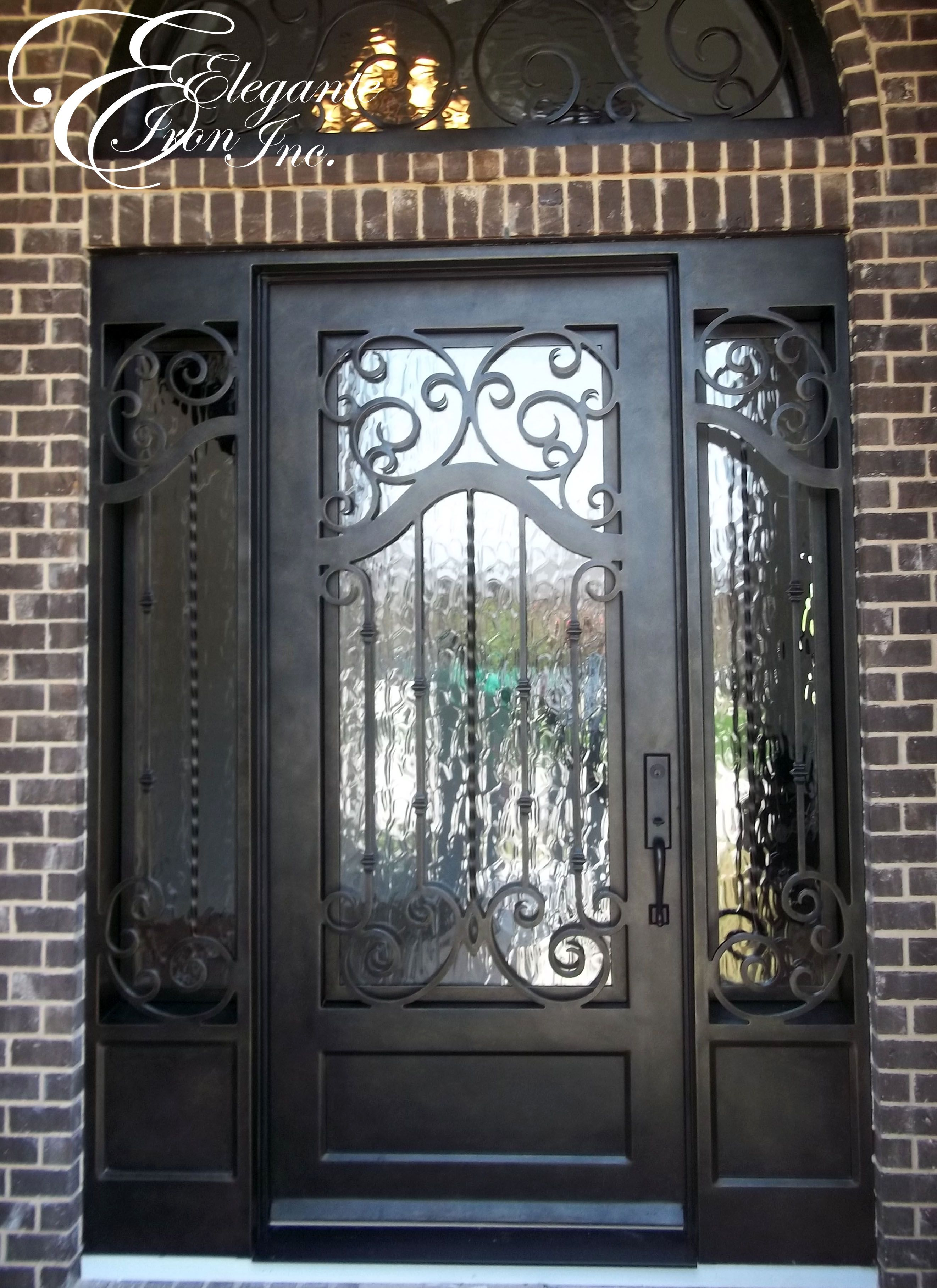Custom Iron Door With Side Lights And Transom Wrought Iron