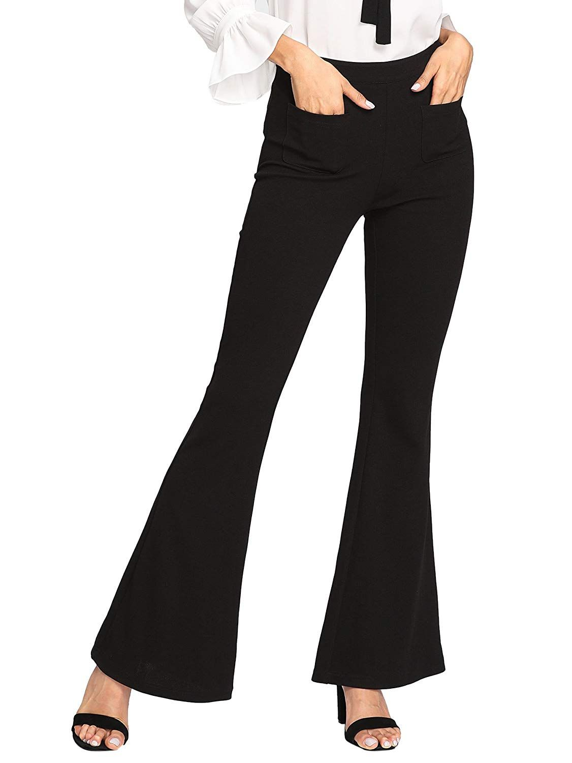 b973ca299 SheIn Women's Casual Stretchy High Waist Wide Leg Dress Pants at Amazon  Women's Clothing store: